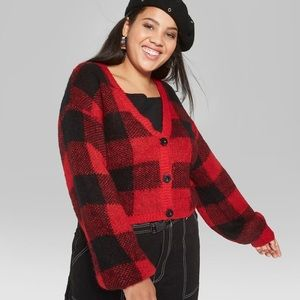 Urban Outfitters Sweaters - Red plaid Cropped Balloon Sleeve Cardigan